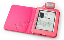 Pink Premium PU Leather Case Cover LED Reading Light Twin Bulbs for Kobo Mini