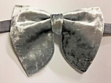 Handmade Oversized Light Grey Velvet Bow tie Vintage style 70`s Wedding Prom