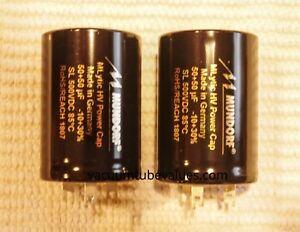 TWO Mundorf MCap 500 VDC MLytic HV PowerCapacitor 50-50 MFD uf Electrolytic