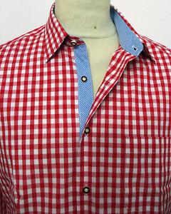 Trachtenhemd rot weiss kariert Baumwolle  XS bis 5XL Klassiker Neues Design