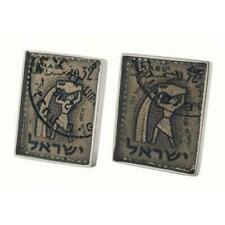 Zodiac horoscope symbols cufflinks with Israel vintage stamps by alan k. thau