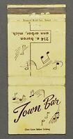 Town Bar 214 East Huron Ann Arbor MI Vintage Entertainment Music Matchbook Cover