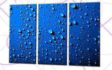BLUE WATER 120x80cm 3 BILDER LEINWAND WASSER TROPFEN