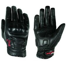 Gloves leather motorcycle knuckles Protection Summer Racing Biker  Black M