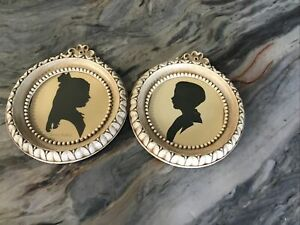 Pair Of Vintage Round  Framed Silhouette Cameo Boy and Girl 1936