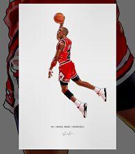 Michael Jordan Chicago Bulls Dunk Basketball Illustrated Print Poster Art