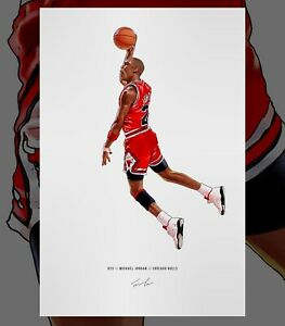 Michael Jordan Chicago Bulls Dunk Basketball Illustrated Print Poster Art