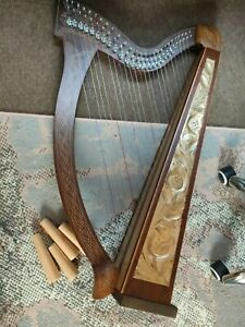 COLLECTION ONLY 27 String walnut inlaid gold Lever Harp Irish celtic + legs bag