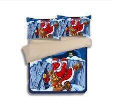 E72 Father Christmas Single Size Sheet + Quilt Cover + Pillow Case Bedding Set Z