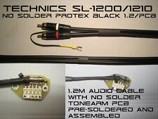 Technics SL-1200/1210 sin soldadura de audio RCA cable & brazo del tocadiscos PCB Protex Negro 1.2m