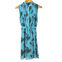 Topshop Womens Green Floral Dress Button Down Size UK6  Mandarin Neck Sleeveless
