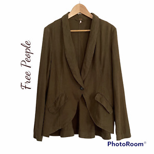 Free People Linen Olive Green Jacket Sz Small