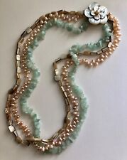 OOAK Amazonite Freshwater Pearl Mother of Triple Strand Necklace Flower Clasp