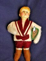Vintage Boy Sailor Christmas Tree Ornament Holiday Winter Felt Body Resin Head