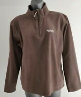 WOMENS REGATTA BROWN HALF ZIP FLEECE JUMPER UK 12