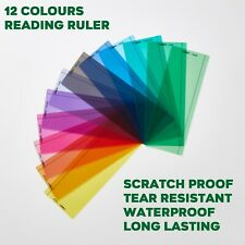 More details for dyslexia reading irlen & syndrome ruler coloured overlays available (12 colour)