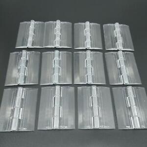 US Stock 12pcs Clear PMMA Acrylic Plastic Folding Plexiglass Hinge 45 x 38mm