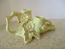 CANDLE HOLDERS, DOUBLE CANDLES, ART POTTERY, PEARL CHINA, YELLOW & 22 KT GOLD