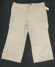 The Blues Missy Size 16 Tan Capris Ramie/Cotton Side Pocket New with Tags Button