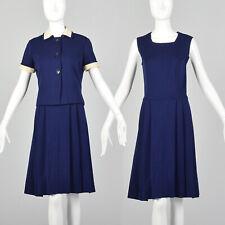 S Blue Dress Set 1970s Navy 2 Piece Outfit Wool Knit Jacket Square Neck 70s VTG
