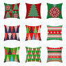 Cotton Linen Christmas Cushion Cover Waist Throw Pillow Case Home Sofa Decor UK