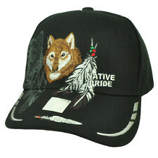 Native Indian American Pride Lone Wolf Black Feather Animal Hat Cap Curved Bill