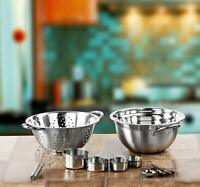 High Quality Stainless Steel 11 pcs. Preparation Set Mixing Bowl & Colander