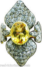 Fascinating Handcrafted Citrine & Rose Cut Diamond Antique Finish Silver Ring