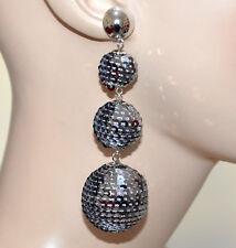 ORECCHINI argento paillettes grigio pendenti donna eleganti lunghi disco A21
