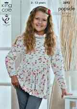 Knitting pattern filles col roulé pull ceinturée jupe en popsicle king cole 3892