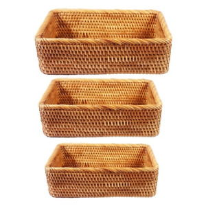 Rectangular Hand-woven Basket Rattan Candy Storage Picnic Tray Food  Dishes