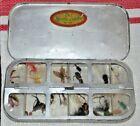 VINTAGE  aluminum magnetic fly case w/ vintage flies
