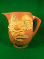 """Vintage Roseville Peony Pink and Yellow Beverage Water Pitcher 1326-7 1/2"""""""
