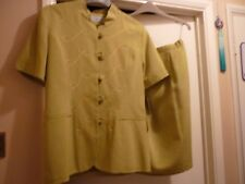 Suit jacket + skirt size 14 New LOUIS ORTONI green with piping + mandarin collar