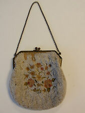 Antique Victorian White Micro Beaded Floral Petit Point Purse Evening Bag France