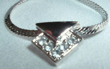 VINTAGE MEN'S SILVER TONE RHINESTONE PENDANT HERRINGBONE NECKLACE CHAIN