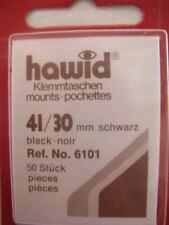 250 (5x50) HAWID 41/30MM BLACK STAMP MOUNTS - PAINTINGS - SUPPLIES