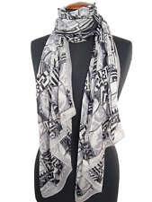 Elegant: SEIDENSCHAL Schal geometrisches Muster weiss grau schwarz 170x50 Seide