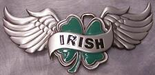 Pewter Belt Buckle National Irish Clover and Wings NEW