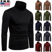 Men's Winter Warm Knitted Turtleneck Pullover Casual Slim Sweater Jumper Tops