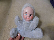 Vtg Rubber Face Blue Sweet Plush Doll Musical Head Moves WORKS mid-century Baby