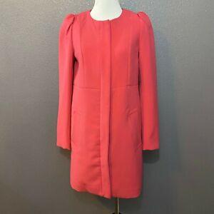 H&M Women's Size 4 Pink Business Coat Hidden Zipper Tunic Length Long Sleeve