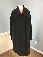 HILARY RADLEY Suri Alpaca Wool blend Black Long Coat Excellent L 12 swing