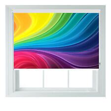 Rainbow SWIRLS 3D Geometric Printed Photo black out roller blinds 2 3 4 5ft