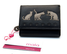 MALA Leather Cat Purse Black Ladies Tri Fold Coin Card Holder Wallet Purses RFID