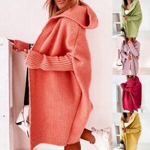 Winter Lange Damen Strickjacke Mantel Kapuze Langarm Cardigan Warm Outwear DHL