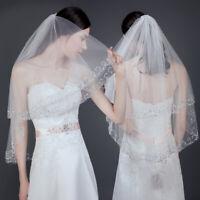 White/Ivory Beaded Wedding Veil Bridal 2 Layer Veils Beaded Edge With Comb