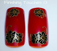 Nail Art Sticker - 3D Flower Decal #57 TJ036 Transfer Shiny Balck Metallic Gold