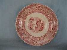 Antique Pink Red Transferware Saucer Soft Paste Building Tree Water Unknown (O)