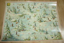 Old 1895 Antique French Game BOARD PRINT - SLEDDING - Sur La Glace